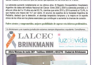 Día Internacional contra el Cancer Infantil – Mensaje de Lalcec Brinkmann