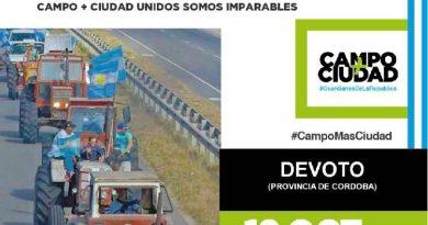 HOY  –  El campo convoca a un «tractorazo» sobre la ruta 19, en Devoto