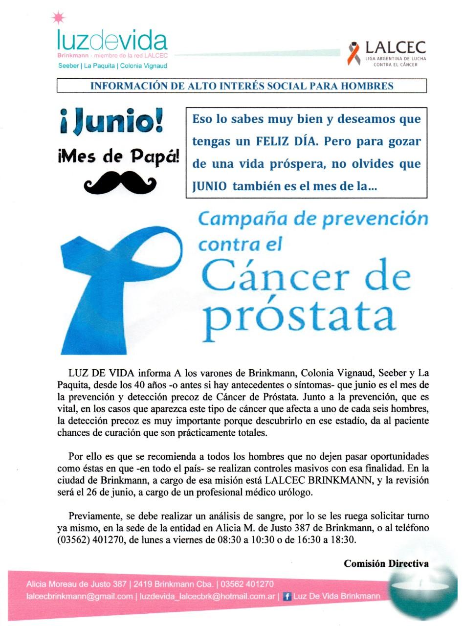 campaña de prevención del cáncer de próstata