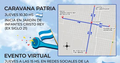 Morteros celebrarà el 9 de Julio con una «Caravana Patria» y evento on line