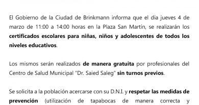 Brinkmann: Realizan certificados escolares en Plaza San Martín