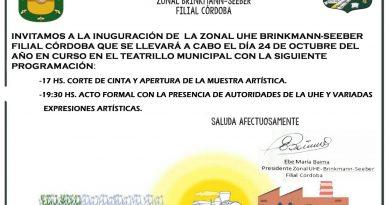 El 24 de octubre se inaugurara a Filial de la «Unión Hispano Mundial de Escritores» en Brinkmann